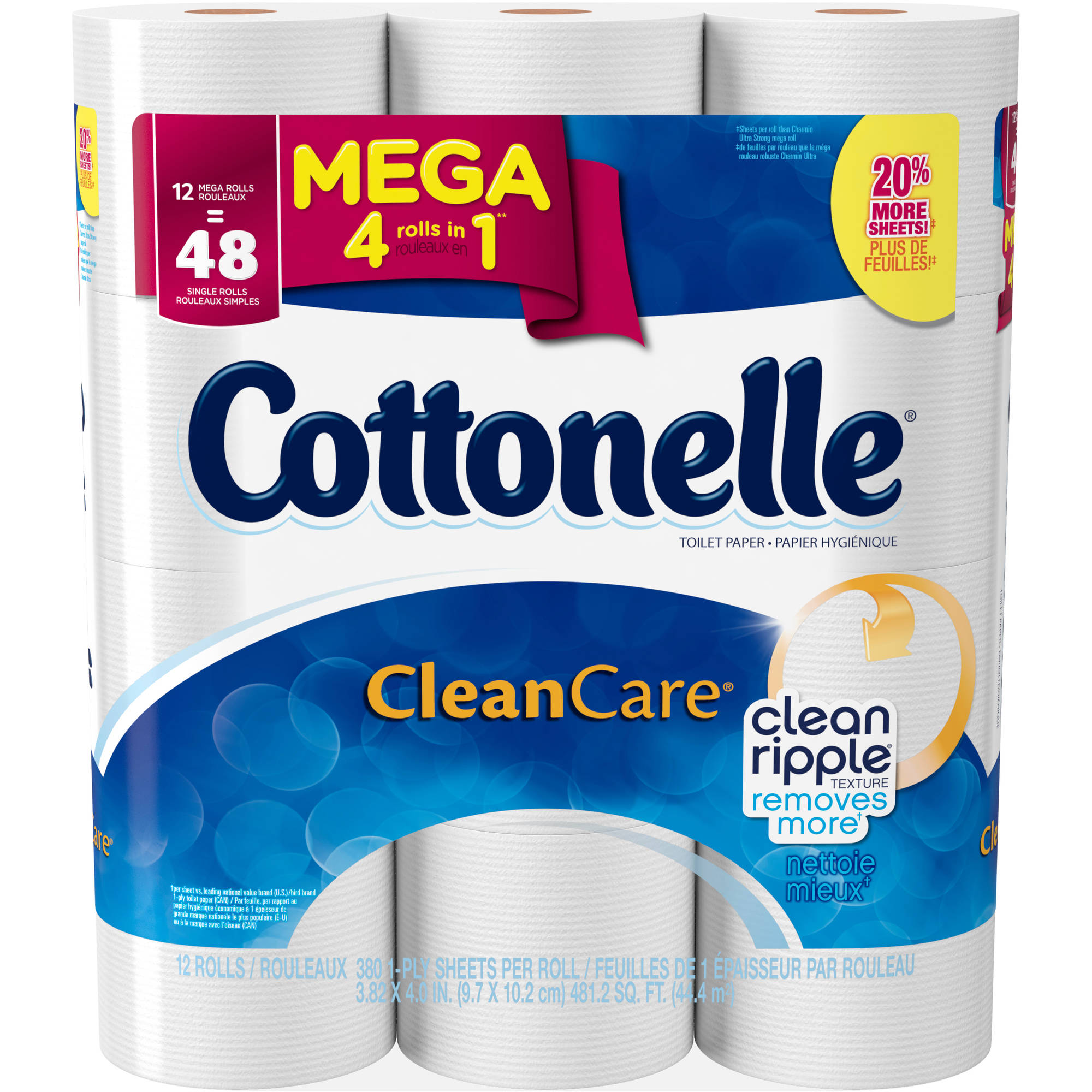 Cottonelle Clean Care Toilet Paper, 12 Mega Rolls