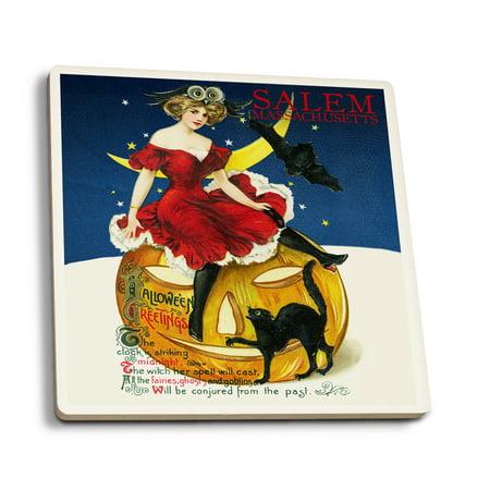 Salem, Massachusetts - Halloween Witch & Jack-O-Lantern - Vintage Postcard (Set of 4 Ceramic Coasters - Cork-backed, Absorbent)