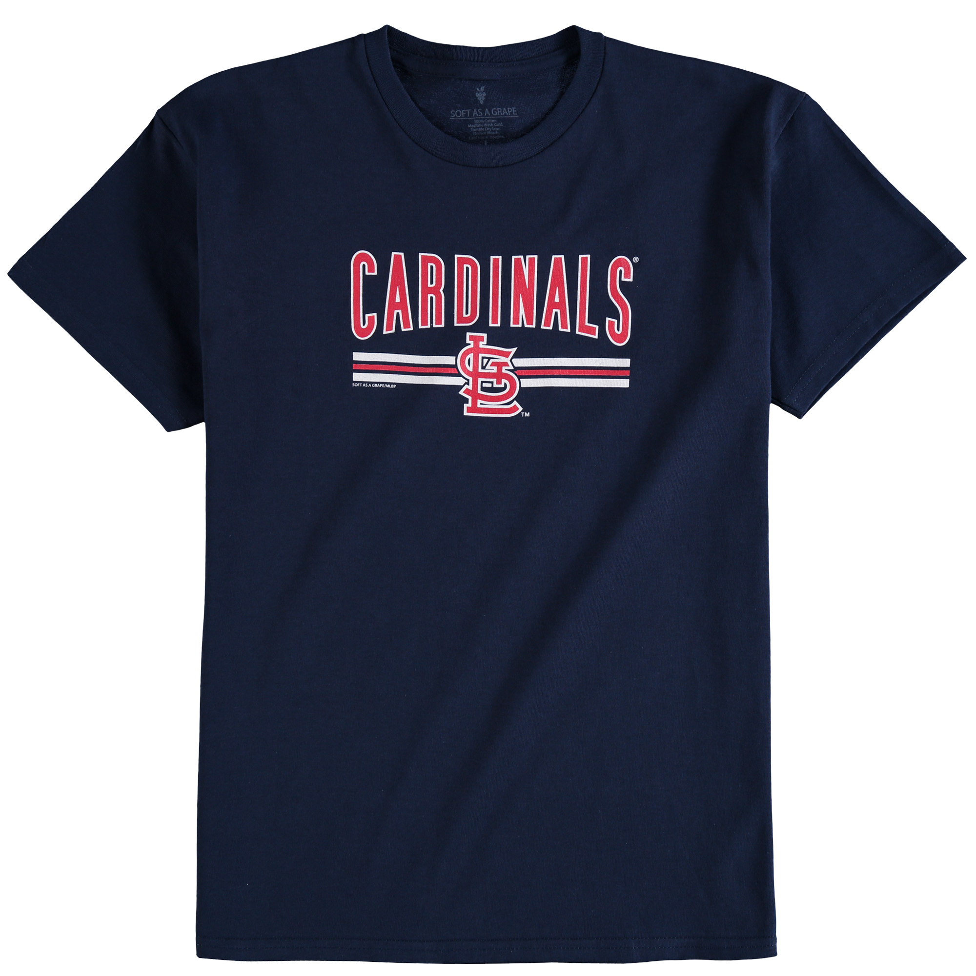 St. Louis Cardinals Soft as a Grape Youth On Base Crew T-Shirt - Navy