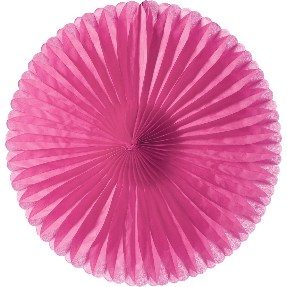 Luna Bazaar Hanging Paper Fan (14-Inch, Fuchsia Pink) - Rice Paper Honeycomb Decorations - For Home Decor, Parties, and Weddings