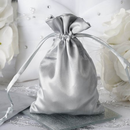 BalsaCircle 12 pcs 4x5 inch Satin Favor Bags - Wedding Party Favors