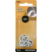 "Hillman Cup Hook White 7/8"" inch 8 Pack"