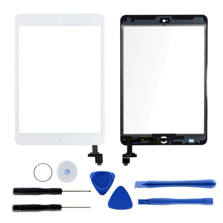 Touch Screen Replacement for iPad Mini 1/2 Retina,Front Digitizer Assembly with IC Connector, Home Button and Camera Holder + 7 Pieces Tools + Adhesive Tape Pre-installed