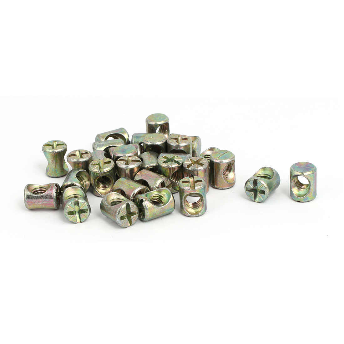 M6 x 12mm Cross Dowel Slotted Barrel Nuts 30PCS for Furniture Bed Chair - image 2 of 2