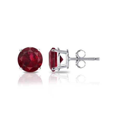 2.00 Ct 925 Sterling Silver Round Cut Red Cubic Zirconia CZ Stud Earrings 6MM