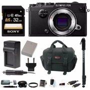 Olympus PEN-F Mirrorless Digital Camera (Silver Body) w/ 32GB SD Card & Monopod Bundle