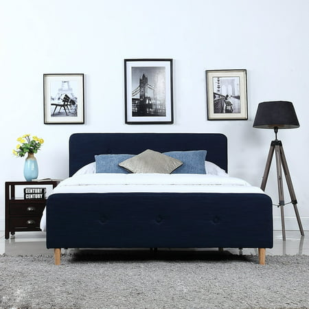 Ash Modern Bed - Mid Century Modern Linen Fabric Low Profile Bed Frame (Queen, Blue)