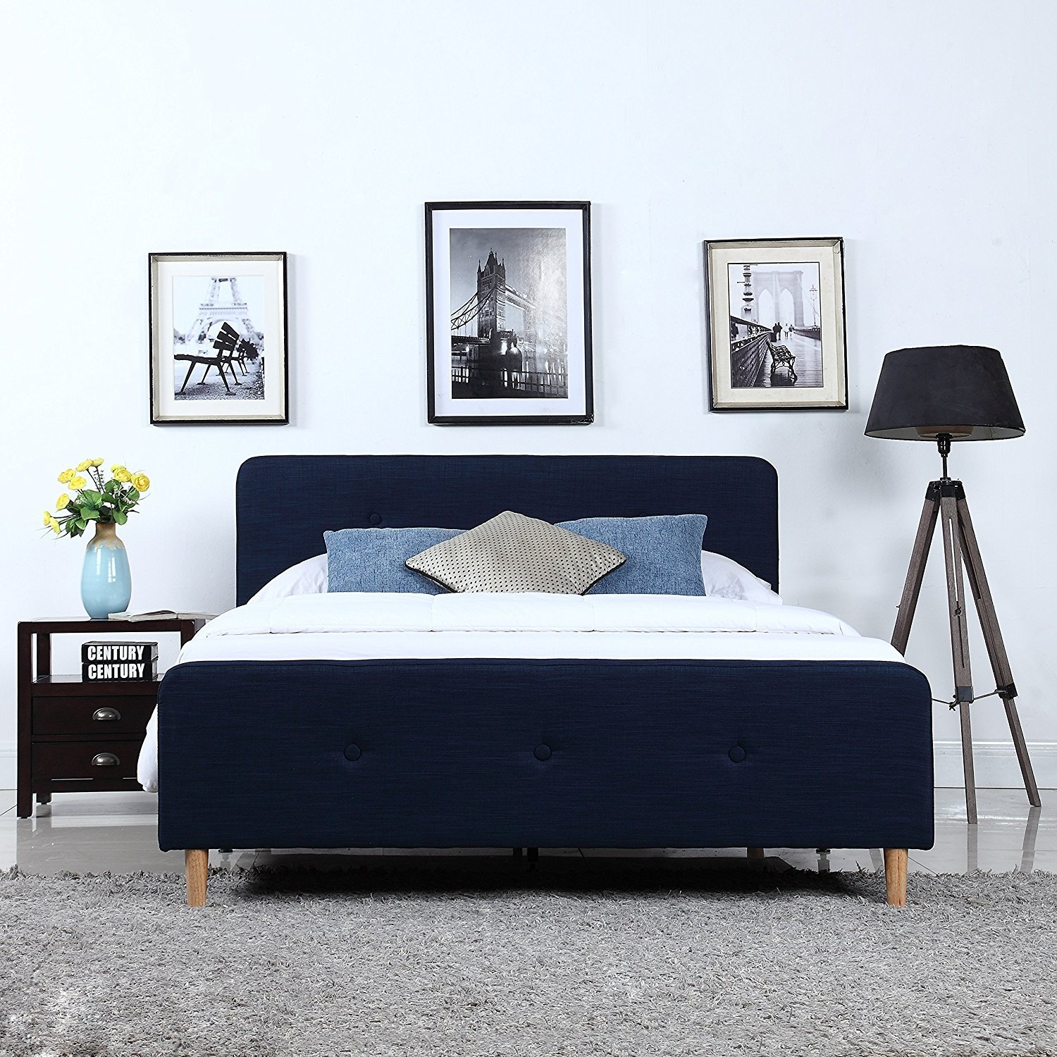 Mid Century Modern Linen Fabric Low Profile Bed Frame (Queen, Blue)
