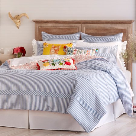 comforter ticking and sets size medium gray black horizontal white bedroom pioneer bedding of blue woman striped modern stripe