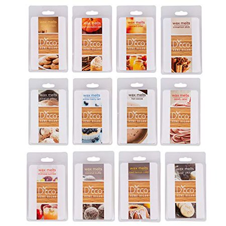 Scented Wax Melts -Set of 12 Assorted Wax Cubes/ Tarts, 2.5 oz each, Mimosa Sunrise, Coconut, Lemon, Sugar Cookie, Caramel , Ginger, Candy Cane, Hot Cocoa, Spiced Cider, Cinnamon, Pumpkin Spice, Berry