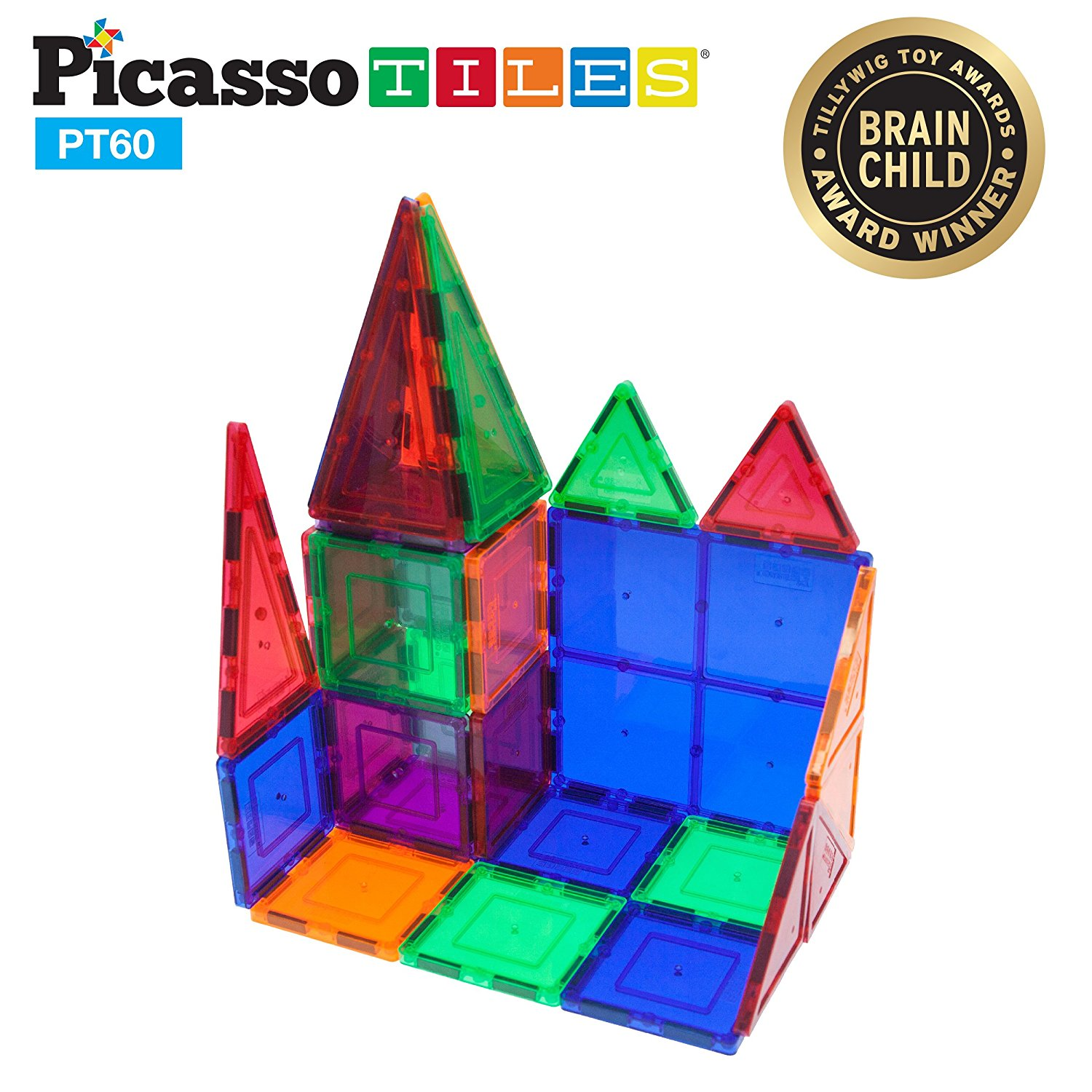 PicassoTiles 60 Piece Set Clear 3D Magnet Building Blocks Tiles