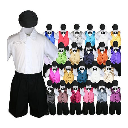 Boys Toddler Formal Vest Shorts Suits Satin Vest Black Bow Tie Hat 5pc Set S-4T