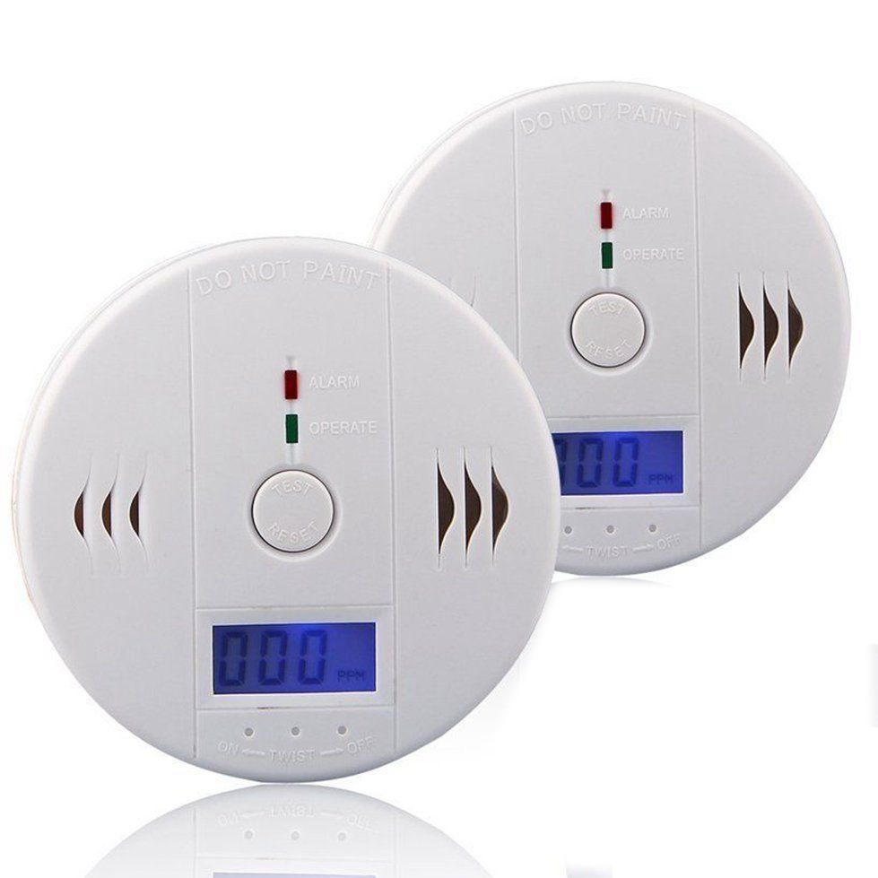 2 Pieces Carbon Monoxide Detector CO Alarm Detector With LCD Digital Display Battery Operated