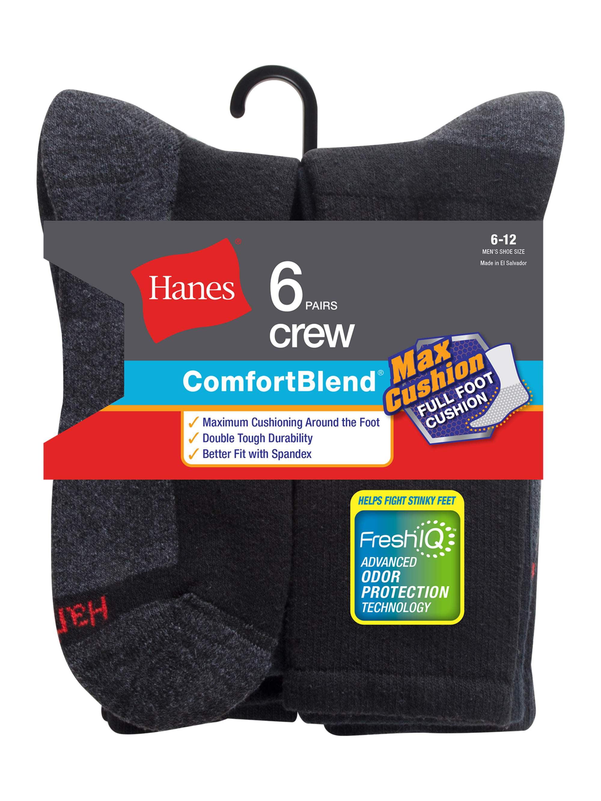 Men's Comfortblend FreshIQ Crew Socks 6-Pack