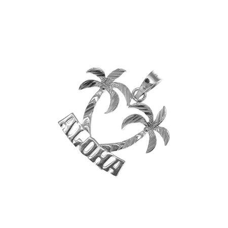 14K solid white gold smooth diamond cut Hawaiian palm tree Aloha -