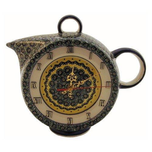 Euroquest Imports Polish Pottery Teatime Table Clock - Pattern DU1