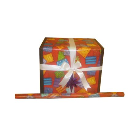 JAM Paper® Christmas Wrapping Paper Rolls - 12.5 sq ft. - Red with Colorful Presents - Sold individually