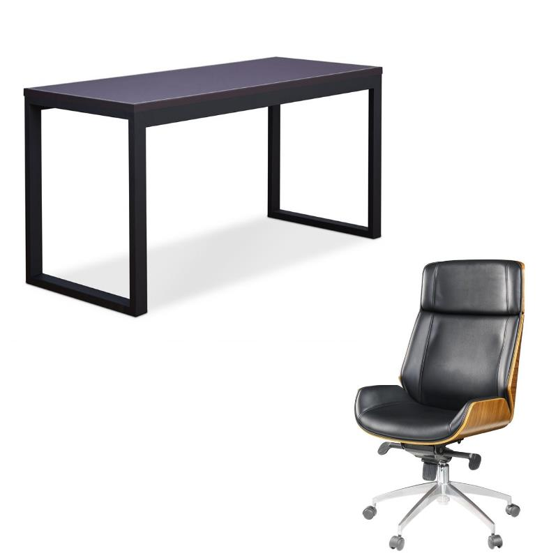 Modern 2 Piece Desk and Executive Office Chair Set