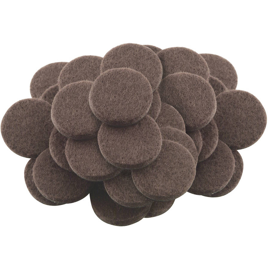 """Waxman Consumer Group 4728695N 1"""" Brown Round Self-Stick Felt Pads, 48 Count"""