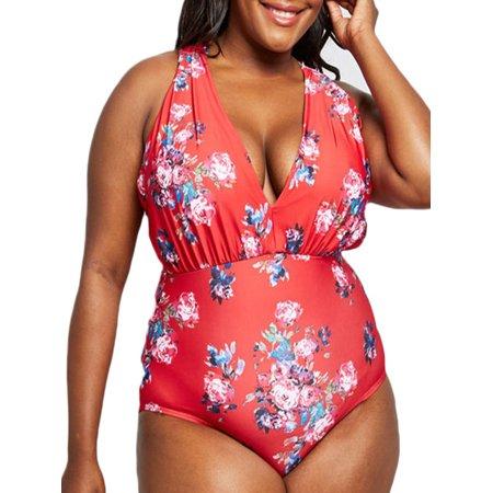 Plus Size Womens Cross Back Floral Print Monokini Swimsuit Bathing Suit Beachwear Swimwear Bikini
