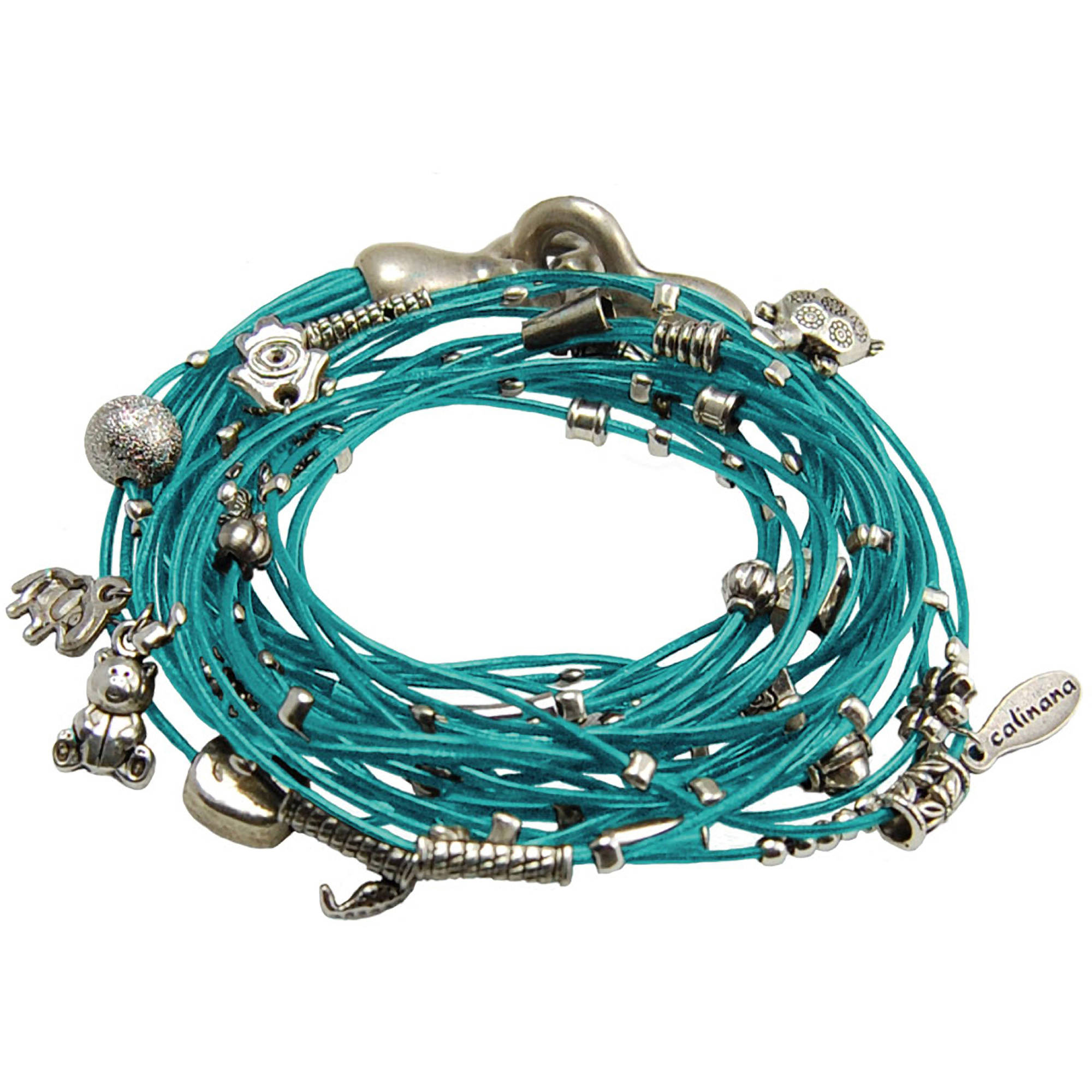 Miss Zoe by Calinana Multi Cord Necklace, Bracelet with Charms, Turquoise/Silver