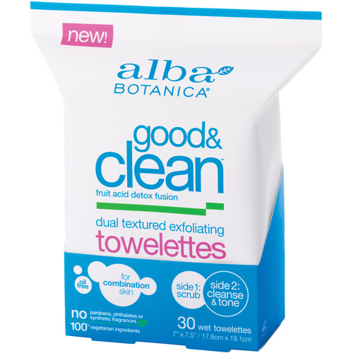 Alba Botanica Dual Textured Exfoliating Towelettes, 30 count