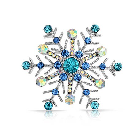 Large Multi Blue Winter Snowflake Brooch Pin For Women Crystal Holiday Winter Rhodium Plated Alloy ()