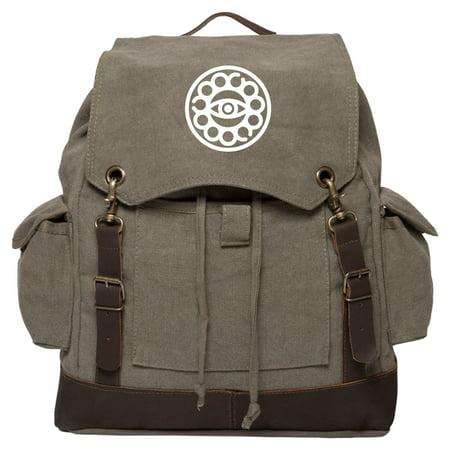 Doctor Strange Eye Vintage Canvas Rucksack Backpack with Leather Straps (Doctor Who Backpack)
