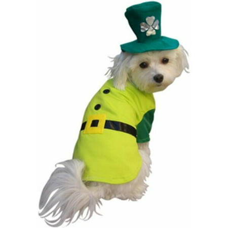 Leprechaun Boy Dog Costume~Large 16-20 Inches / Green - St Patrick Day Costumes