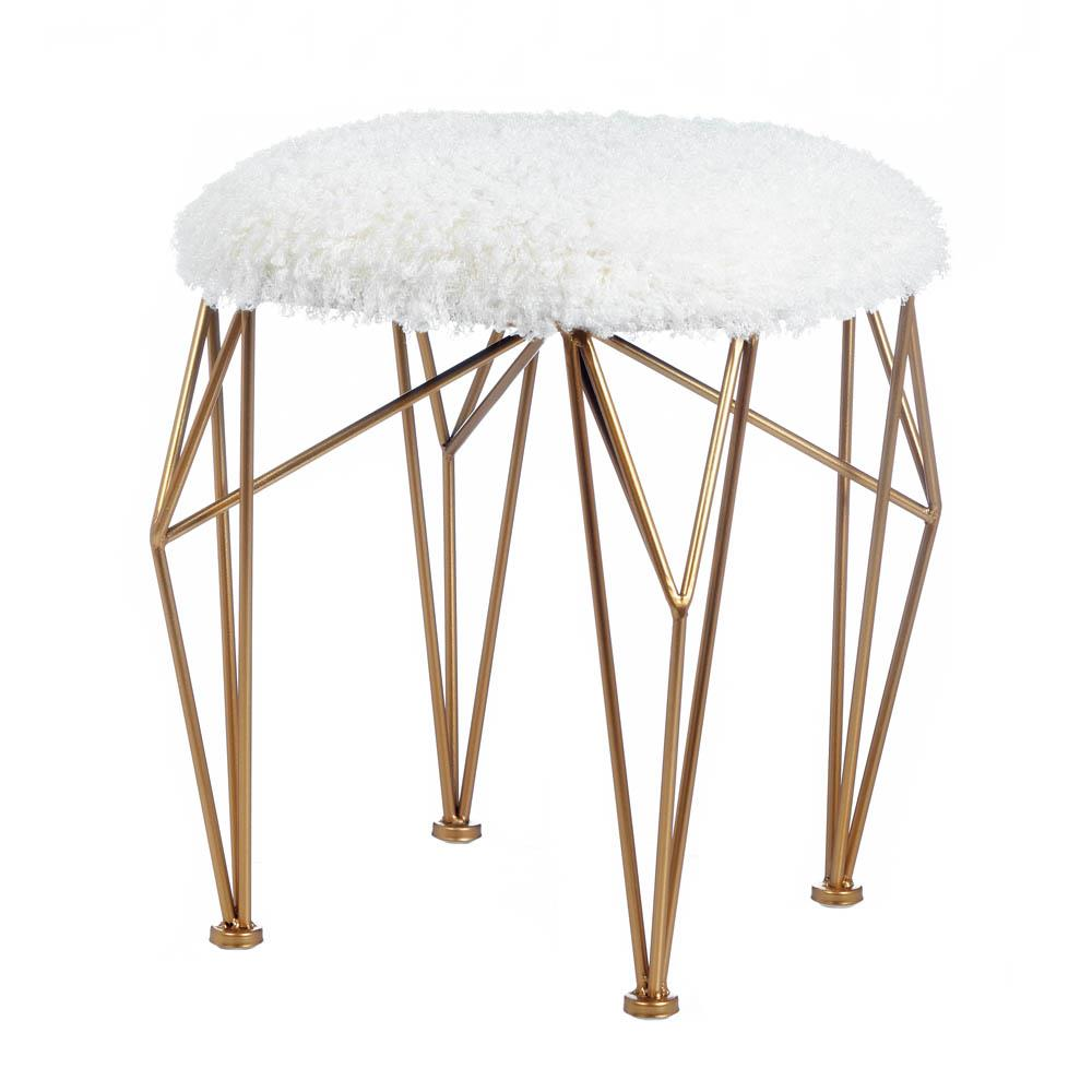 Accent Plus Geo White Faux Fur Stool