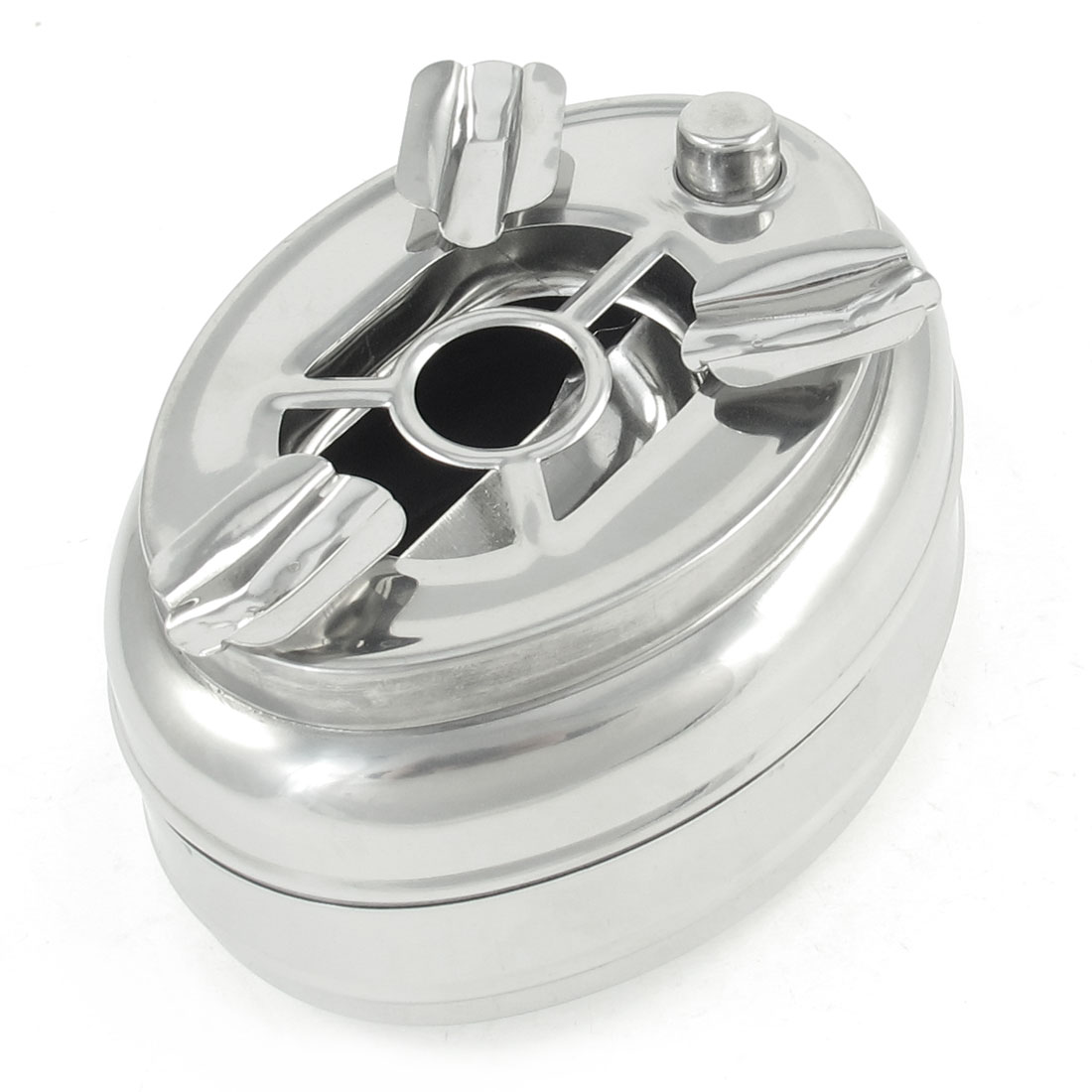 Home Cars Interior Oval Cigarette Ash Holder Ashtray Silver Tone