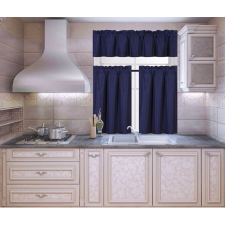K3 Navy Blue 3-Piece Blackout Rod Pocket Kitchen Window Curtain Set Darkening Tier Panels Treatment with Matching Valance
