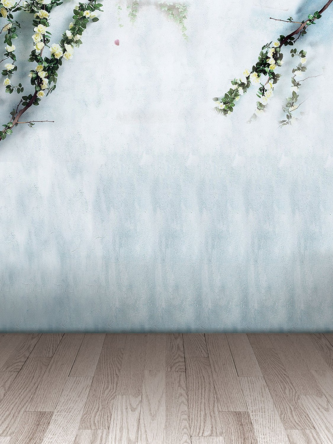 Hellodecor Polyester Fabric 5x7ft Photo Background Drop White Flowers Background Backdrop Wood Floor Photo Backdrop Light Blue Marble Wall Walmart Com Walmart Com