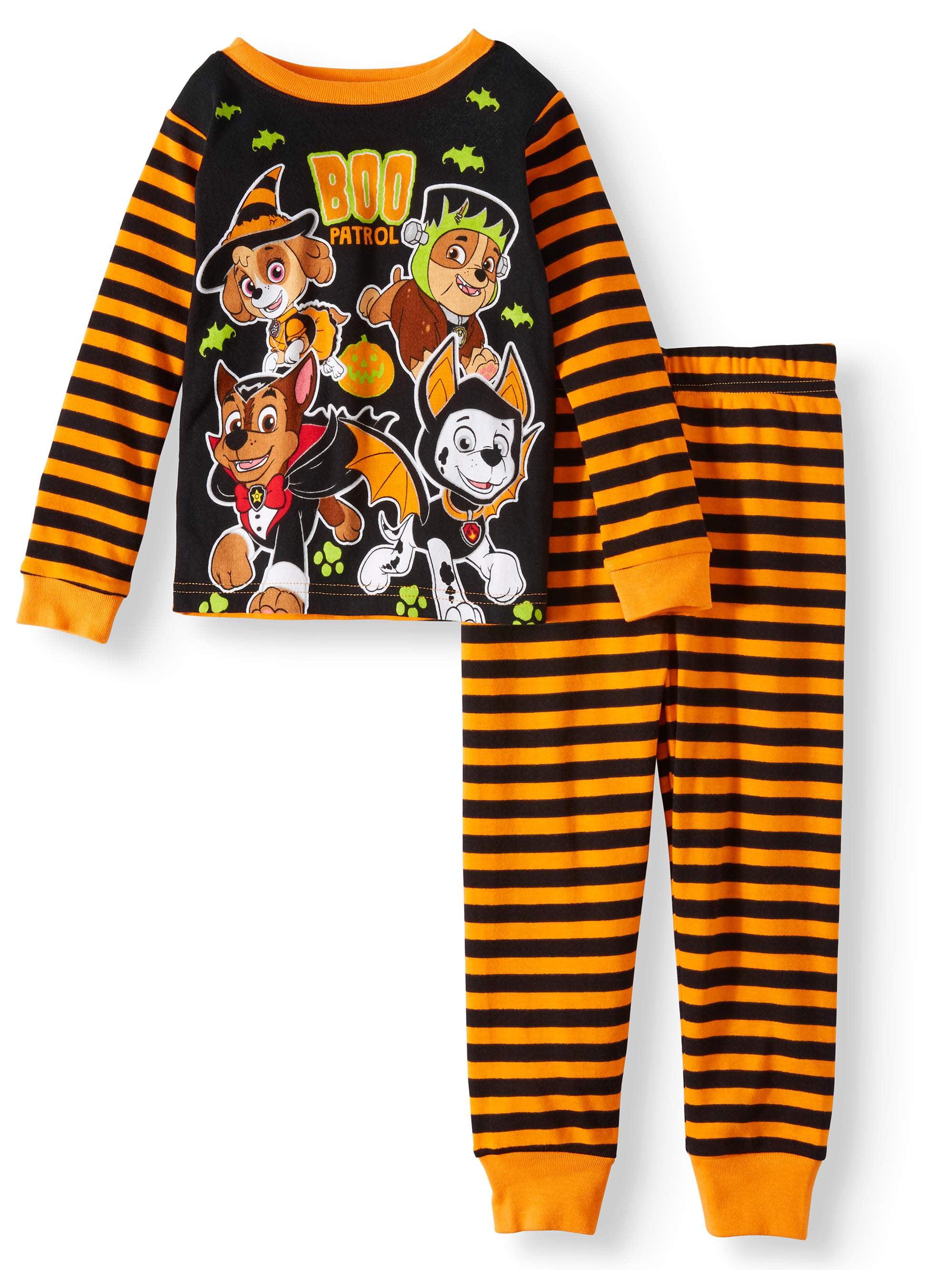 Paw Patrol Toddler Boy Glow in the Dark Halloween Pajamas New 4T