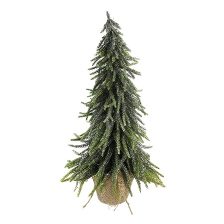 19 Silver Glitter Weeping Mini Pine Christmas Tree In Burlap