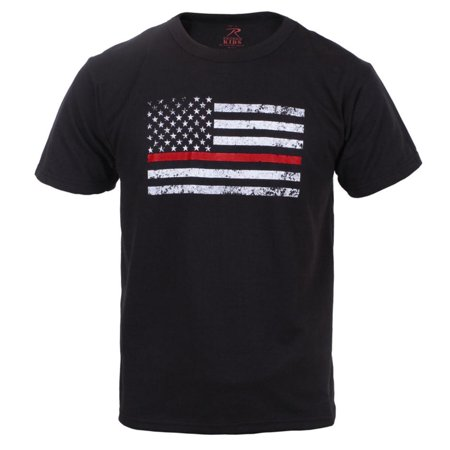 Rothco Kids Thin Red Line US Flag T-Shirt, Firefighter Support, Black (Kids Firefighter)