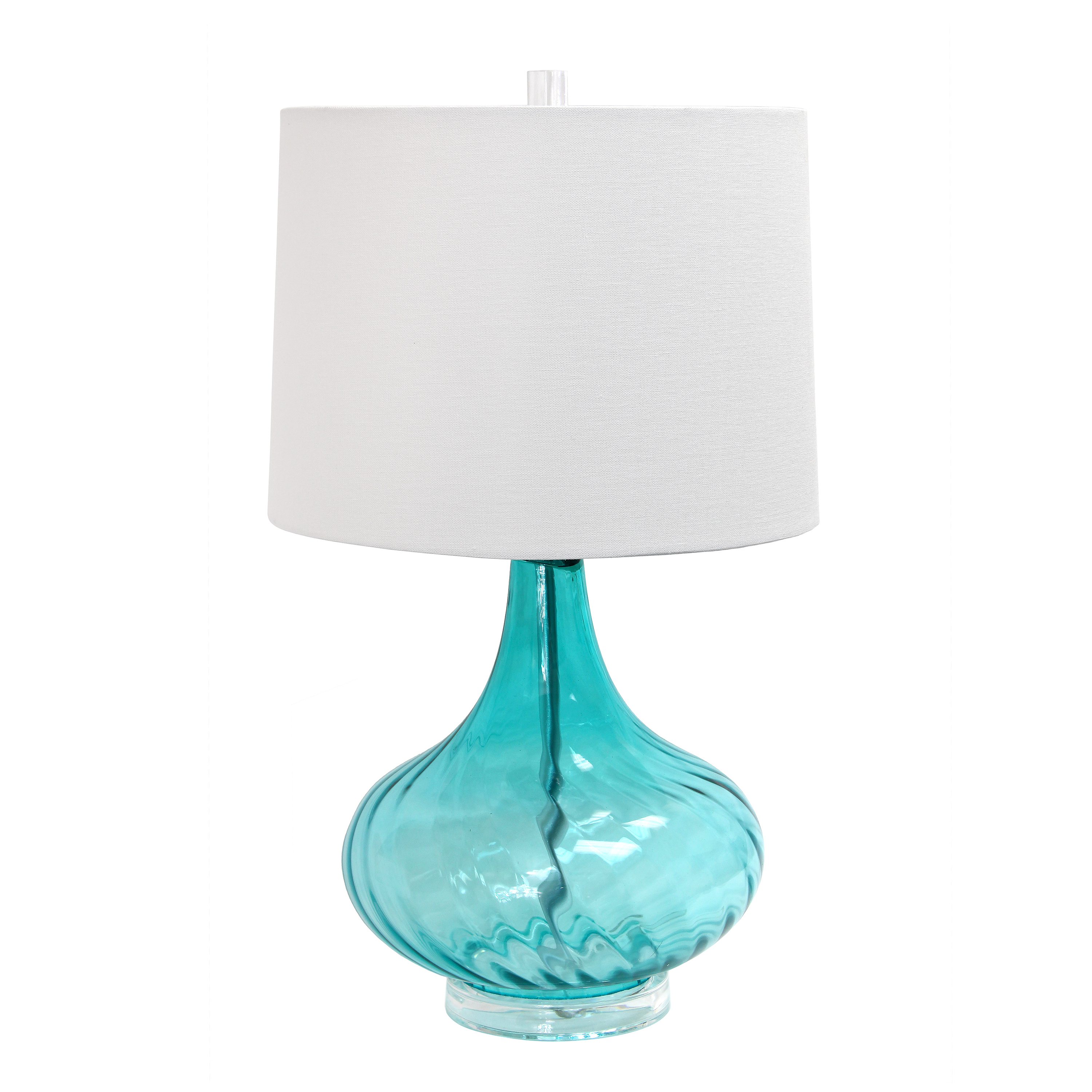 Elegant Designs Glass Table Lamp With Fabric Shade, Light Blue