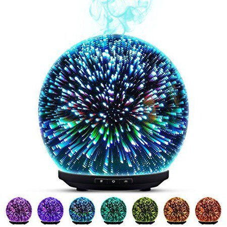 Essential Oil Diffuser - 3D Glass 200ml Ultrasonic Aromatherapy Oils Humidifier With Amazing LED Lights, Handy Auto Shut-Off