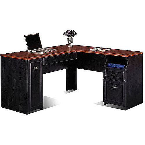 Bush Fairview Collection L-Shaped Desk, Antique Black and Cherry