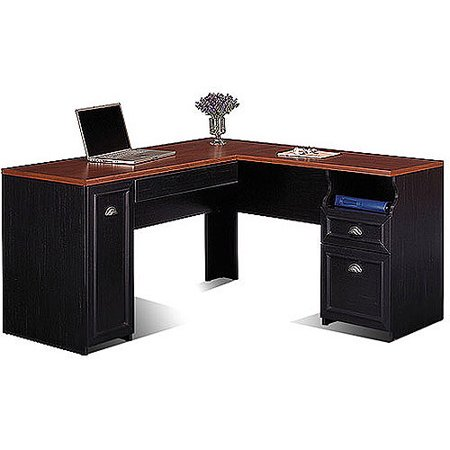 Bush Fairview Collection L-Shaped Desk, Antique Black and Cherry - Bush Fairview Collection L-Shaped Desk, Antique Black And Cherry