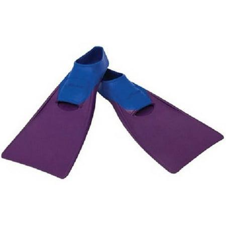 Floating Swim Fins - FINIS Long Floating Fin Jr. in Blue/Purple, Size 6-8