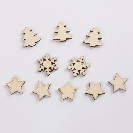 Visland 50Pcs Christmas DIY Wooden Star Tree Snowflake Crafts Scrapbooking Wedding Decor - image 5 de 6