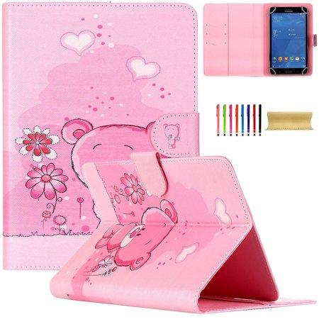 7 0 Inch Tablet Universal Case  Uucovers Wallet Case For Samsung Galaxy Tab A 7 0  Tab 4 7 0  Tab 3 Lite  Tab J 7 0  Amazon Kindle Fire7 2015  Google Nexus 7 And More 6 5  7 5 Inch Tablet  Pink Bear
