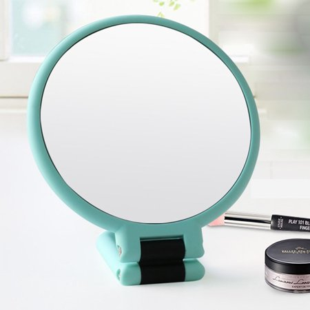 Hand Signed Green - Portable Double-Sided Make-up Mirror 10 Times Hand-Hold Magnifying Mirror Christmas Birthday Gift Color:Mint Green