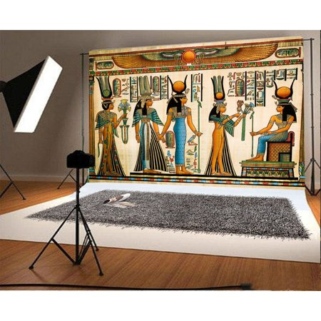 HelloDecor Polyster 7x5ft Photography Background Egyptian Mural Color Painting Drawing Pharaoh Scene Historic Culture Art Personal Shooting Backdrops Art Portraits Wedding Party Video Studio Props (Scene Backdrops)