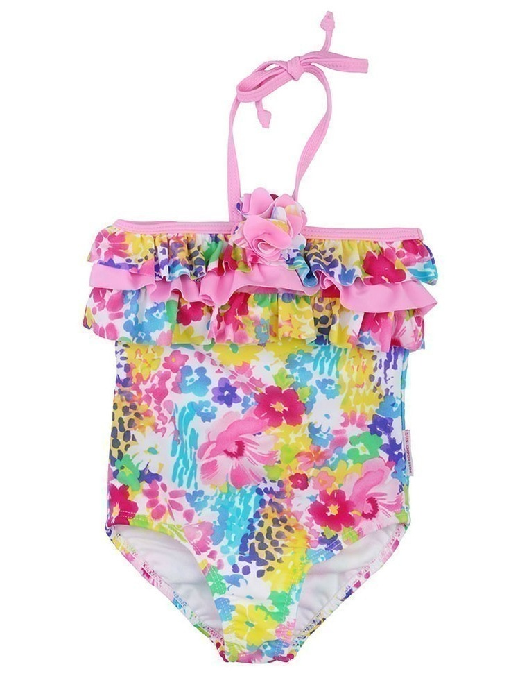 Sun Emporium Little Girls Pink Monet Floral Halter One Piece Swimsuit 6