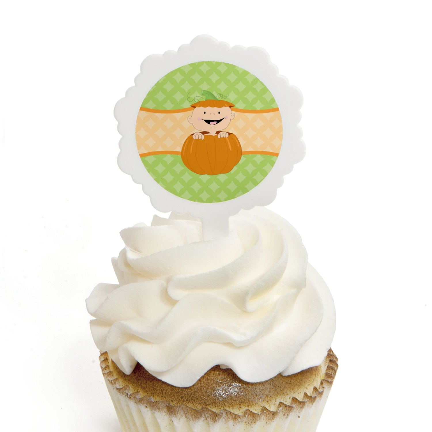 Little Pumpkin Caucasian - Cupcake Picks with Stickers - Fall Baby Shower or Birthday Party Cupcake Toppers - 12 Count