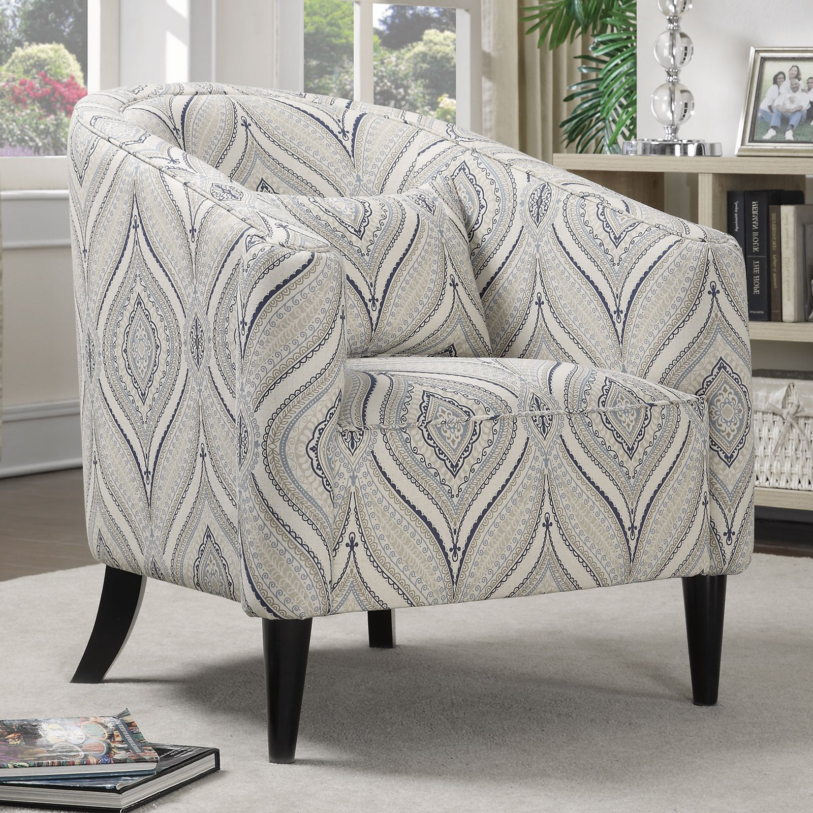 Attrayant Coaster Company Accent Chair, Off White/Blue/Grey Printed Linen Fabri    Walmart.com