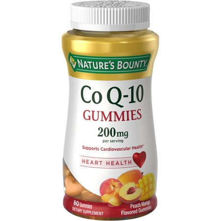 200 Peach - Nature's Bounty Co Q-10 Peach Mango Flavor Heart Shape Gummies, 200 mg, 60 count