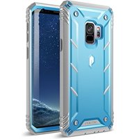 Poetic Revolution [360 Degree Protection] Full-Body Rugged Heavy Duty Case with [Built-in-Screen Protector] for Samsung Galaxy S9 Blue/Gray